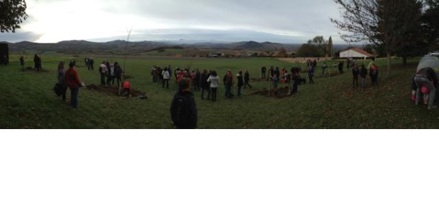 Valse des bigots, ronde des pelles et des bêches, la manifestation autour de la pomme  du samedi 12 novembre 2016 a rassemblé petits et grands autour de l'école de Montmorin.