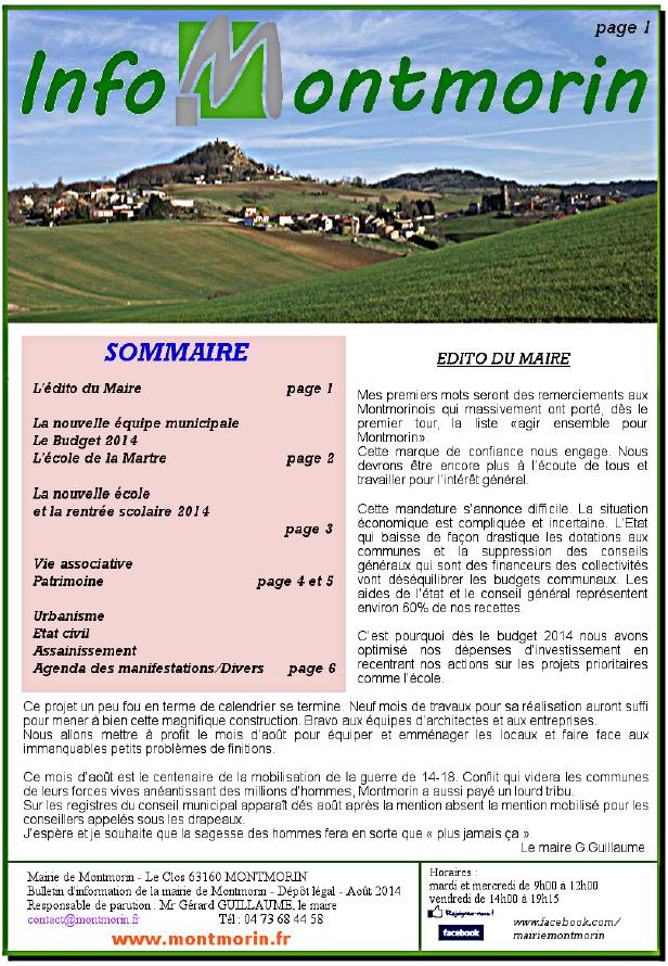 Info Montmorin 2014